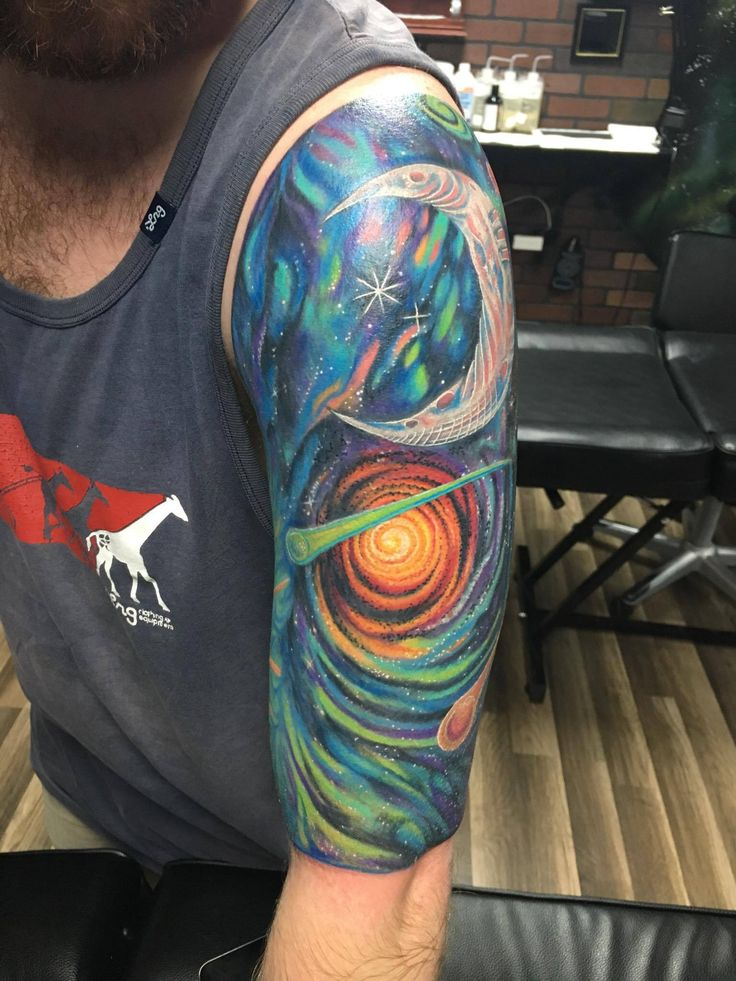 finished product sun/moon half sleeve by Nick G at Ink-Credible tattoo factory (link of all pics)