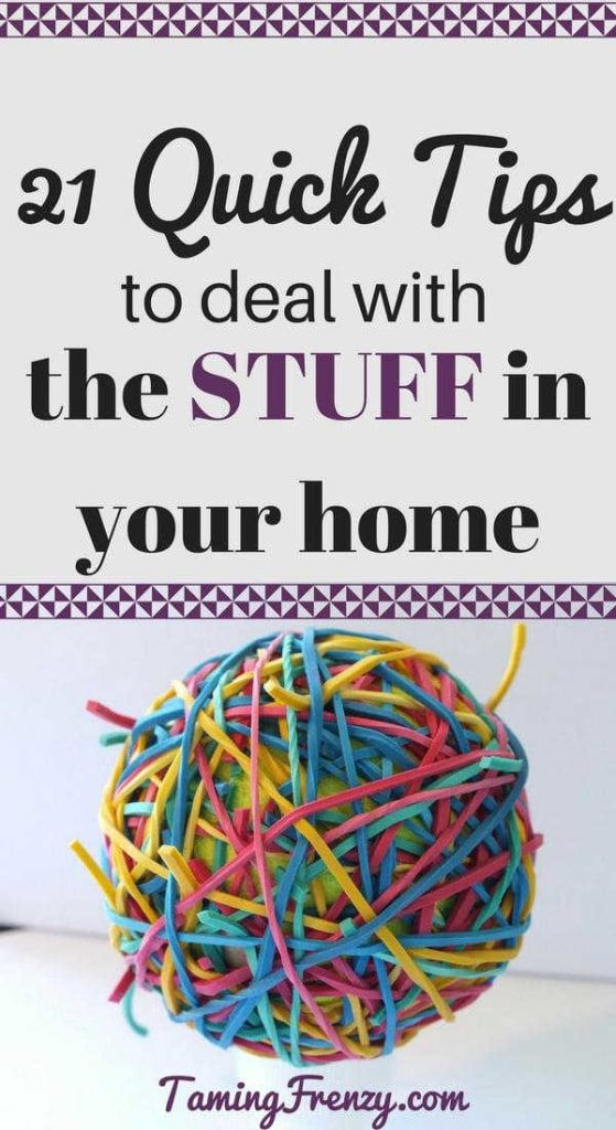 Do you continually deal with the same messes, problems, and trouble spots over and over? A few simple tricks can help you get them under control.   https://tamingfrenzy.com/21-quick-tips-deal-stuff-home/