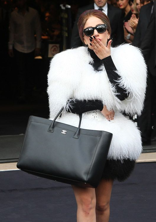 The Many Bags of Lady Gaga.. the biggest Chanel Cerf Tote I've ever seen.