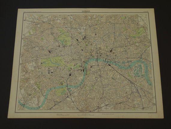 LONDON old map 1898 large original antique plan by VintageOldMaps
