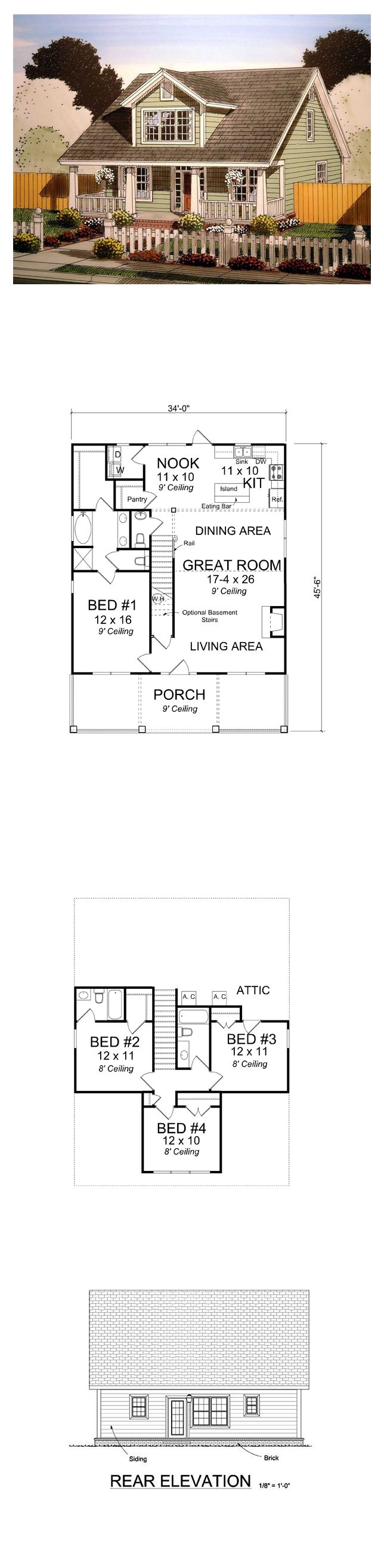 Cape Cod House Plan 61403 | Total Living Area: 1871 sq. ft., 4 bedrooms 3.5 bathrooms. #houseplan #capecodstyle