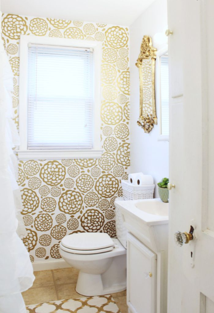 DIY Gold Glam Bathroom Makeover   Classy Clutter (the wallpaper was made with vinyl!)
