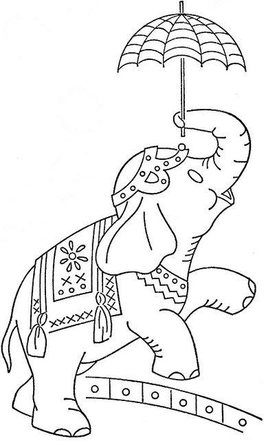 circus elephant - embroidery