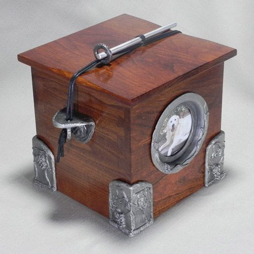 100 of the World's Most Beautiful Wood Cremation Urns: Wooden Chest Pet Urn with Pewter Accents