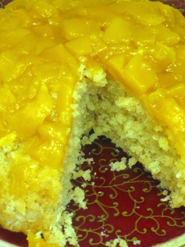 mango coconut steamed pudding
