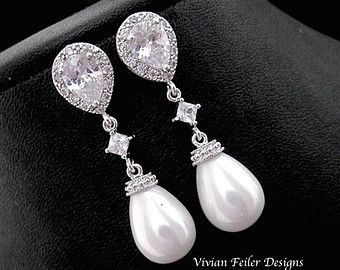 Bruids Earrings Pearl witte parel oorbellen door EstyloJewelry