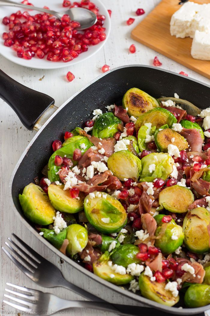 Pan Roasted Brussels Sprouts Salad with Prosciutto. Appetizer Recipe. | happyfoodstube.com
