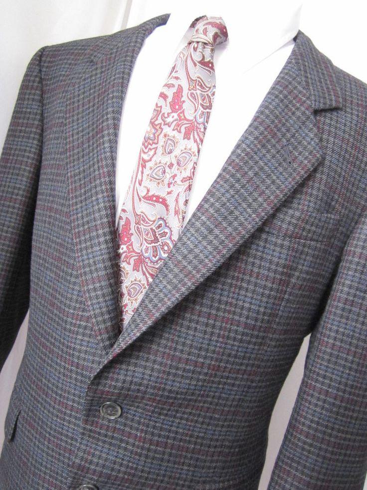 Jacket 42 Short Elks Wool blend Overcheck Tweed 2 Button Gray Blazer Mens Coat