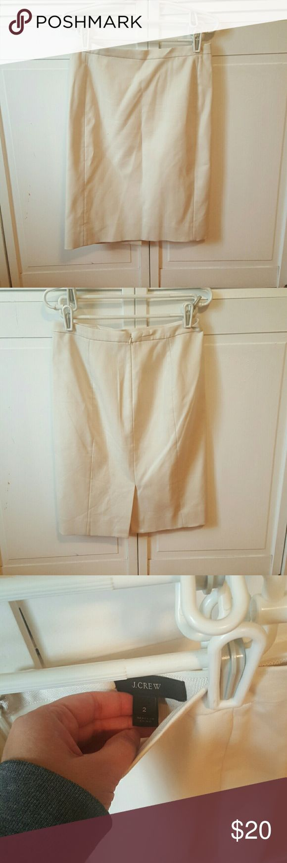 J. Crew pencil skirt This light creamy beige pencil skirt is in good condition.   Approximate measurements:  Waist: 14 inches Length: 23 inches   *SAVE MORE AND BUY BUNDLE OF 3 PENCIL SKIRTS IN MY BUNDLE POST* J. Crew Skirts Pencil