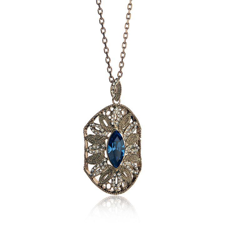 Мода ювелирные изделия хорошо qulaity кофе позолоченный кулон ожерелье с синий драгоценный камень, оптовая продажа новый продукт 2016
