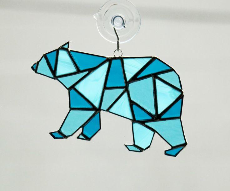 Polar Bear Stained Glass Suncatcher, Geometric Art, Geometric Stained Glass, Stained Glass Polar Bear, Geometric Bear by AwesomeSauceDesigns on Etsy https://www.etsy.com/listing/254132749/polar-bear-stained-glass-suncatcher