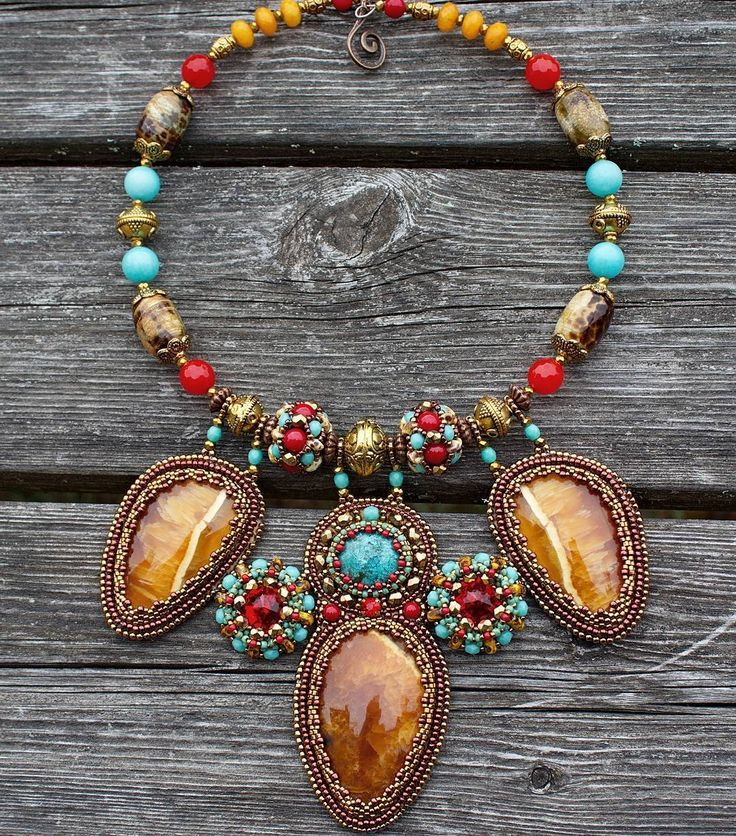Bright and colorful necklace with natural turquoise and amazing russian simbircites ❤ Halsband med naturliga stenar turkos, ryska simbirciter, amazonite och swarovski kristaller. Grattis frakt i Sverige.  #turquoise #beadworkjewelry #seedbeads #simbircite #necklace #boho #ethnic #chick #embroidery #handmade #fashion #smycken #sverige #sweden #design #halsband #beadwork #beadart