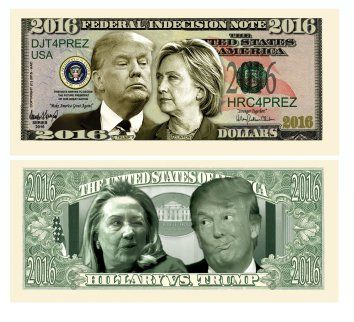 Set of 5 - Donald Trump VS Hillary Clinton Federal Indecision Note 2016 Dollar Bill - Highly Collectible Novelty Dollar Bill - Funny for Democrats or Republicans - Funniest Political Gift of 2016  The best gag gifts for 2017 are the ones your friends and family will remember.   Most people appreciate a good practical joke and these will give you some great gag gift ideas for Christmas 2017.  There are practical joke ideas for both men and women.   You will definitely make them laugh out loud…