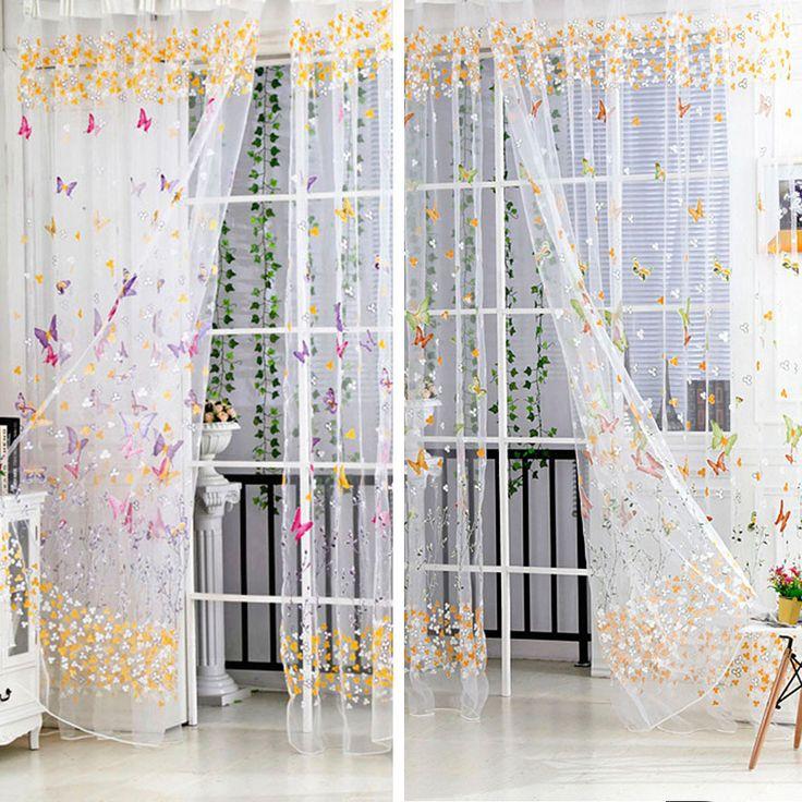 Тюль ивы двери балкона бабочка печать занавес панели чистой шарфы экраны окна шарф занавескупить в магазине Pet Supplies MarketнаAliExpress