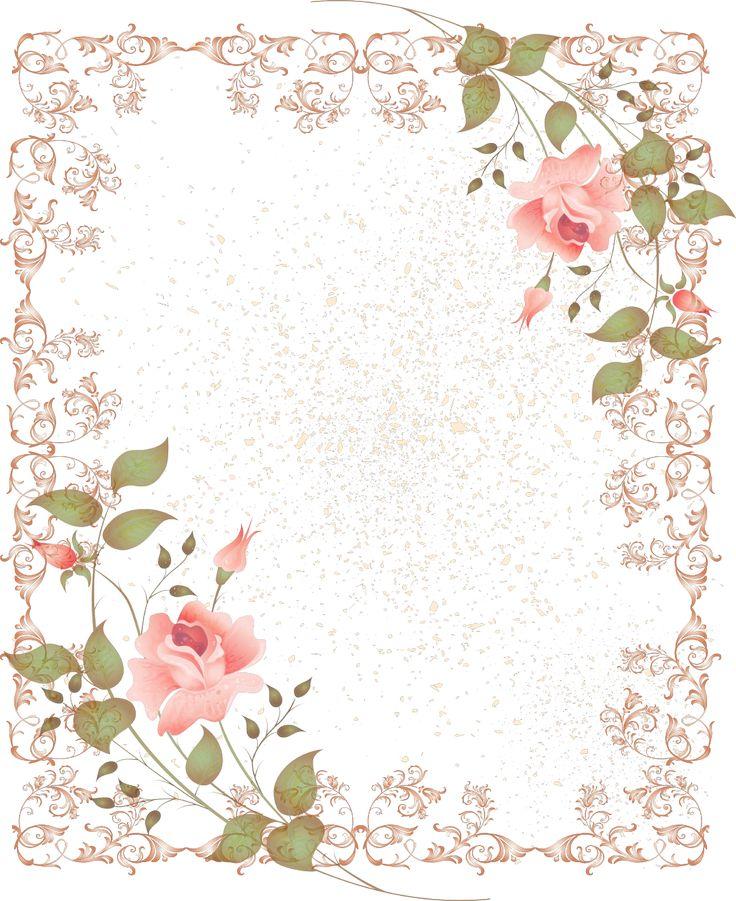 Pink Vintage Border Templates Retro-Style-Floral-Bor...