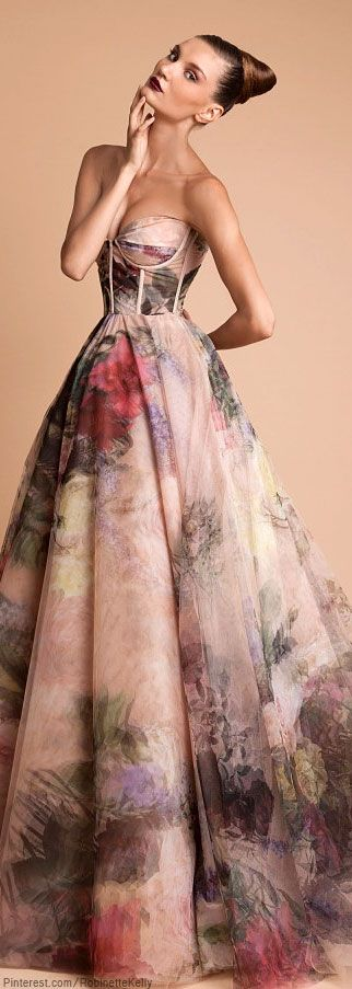 The out-of-focus floral print gives brilliant movement to the dress! | Rani Kakhem FW 2013-14