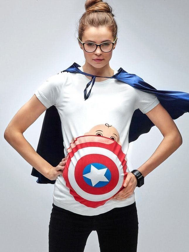 11 Soft T Shirts That Will Give Pregnant Women A Good Laugh Pregnant Halloween Costumes Pregnant Halloween Baby Superhero
