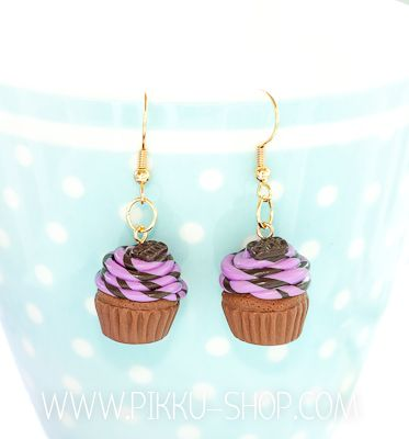 Choco Grape Cupcake Earrings  from Pikku Shop | www.pikku-shop.com | #kawaii #cupcake #earrings #cute #polymerclay #fimo