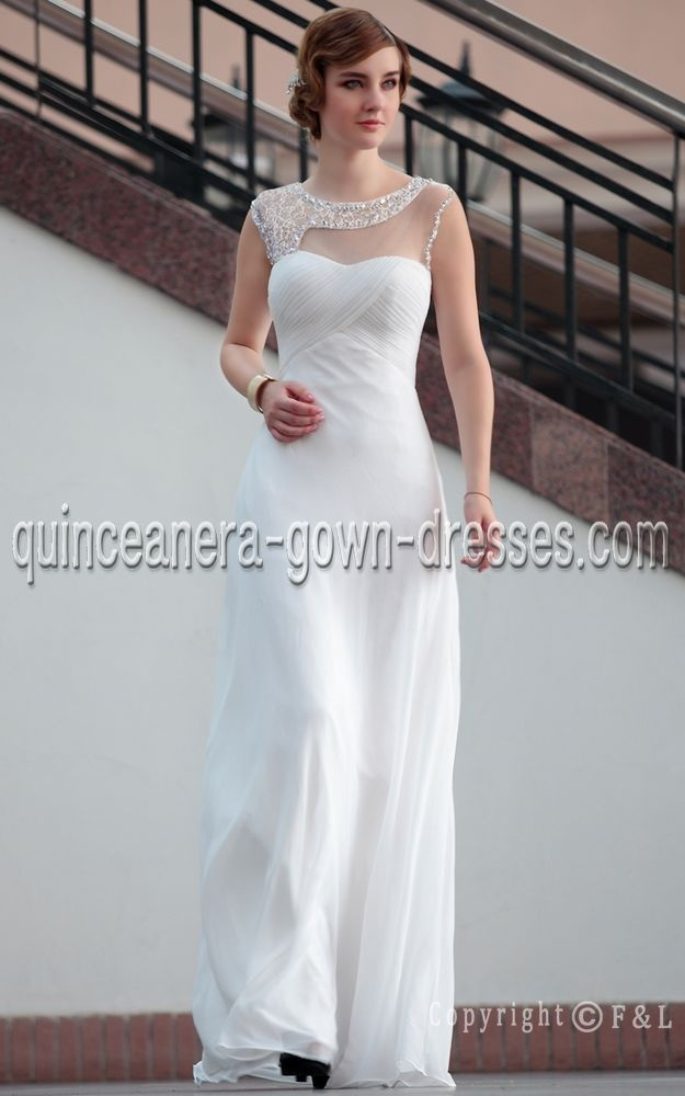 In Stock Chic Sheath Bateau Full Length Pure White Evening Dress