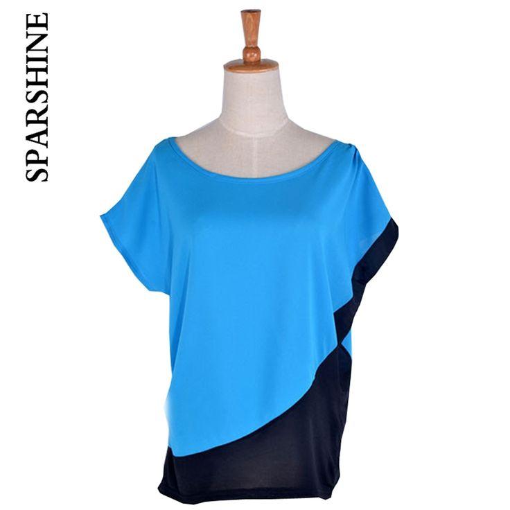 2016 Women Fashion Tops Blouses 3 Solid Color Blue Red Orange O-Neck Short-sleeve Chiffon Shirt Female Women's Slim Clothing