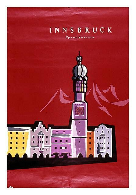 Innsbruck • Tyrol Austria #Tourism #Travel #Poster 1960s