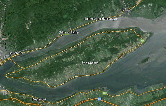 Vue satellite de l'Île d'Orléans, près de Québec, aujourd'hui.