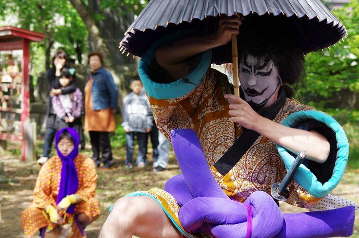 05 Akita Hachirogata town Gannin Dance Japan 2015 2015年5月5日 八郎潟町 一日市神社 大人願人踊り