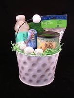 Golf gift baskets can be easily assembled at home. #Fundraiser #CASA Council #Foster Care #For the Children!