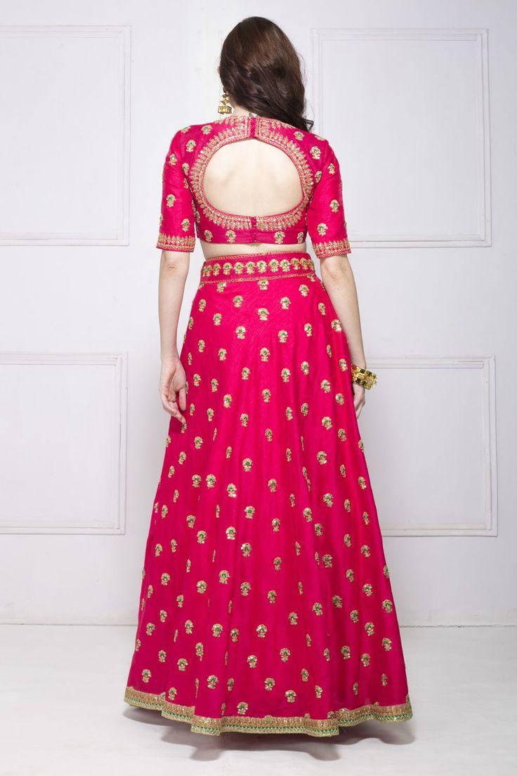 Bright Pink Lehenga, open back Choli, via @sunjayjk
