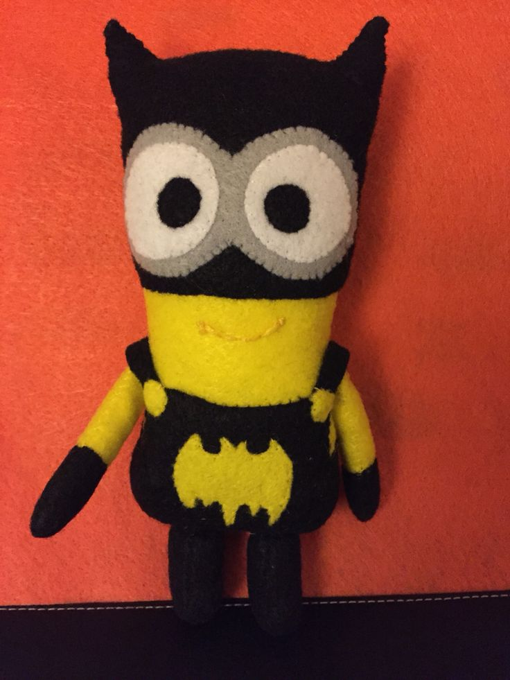 "felt, Batman Minion Kevin inspired, hand sewn plushy by C. Pantoja ""2015"""