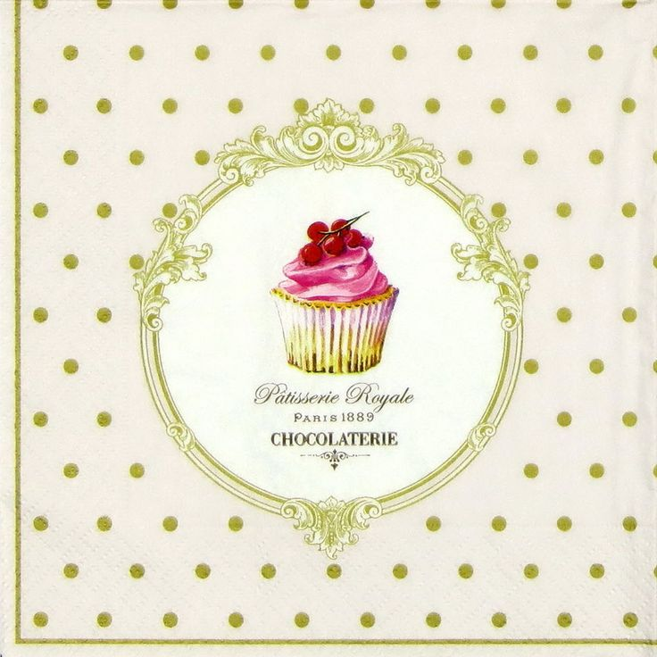 4 x Single Luxury Paper Napkins for Decoupage and Craft Vintage Cake Pops