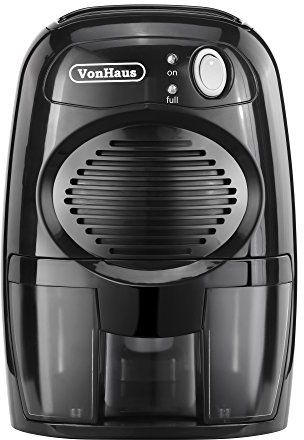 VonHaus Compact Mini Portable Black Air Dehumidifier - Ideal for Small Rooms and Spaces