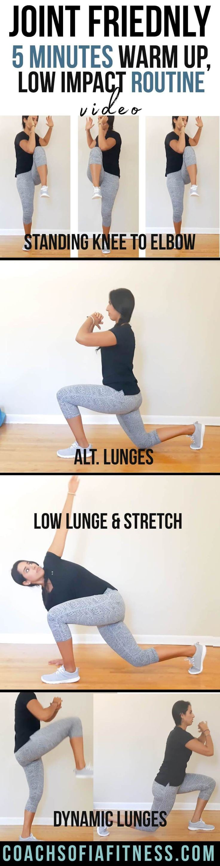 Check out this joint friendly warm-up routine if you have back pain or hip pain. It's super low impact and you can complete it under 5 minutes! Topics: sciatica, piriformis syndrome exercises, low back pain, warm-up routine, low impact exercises.