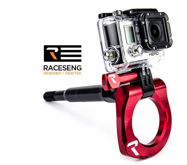 Raceseng Front Anodized Tug View Tow Hook and GoPro Mount - 2015+
