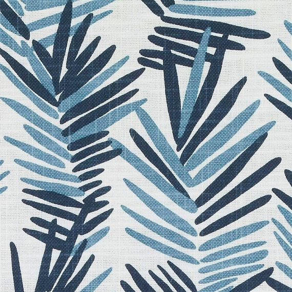 Indigo Blue Upholstery Drapery Fabric Yardage - Dark Blue Scenic Fabric - Navy Blue Linen Pillow Covers - Modern Dark Blue Curtains