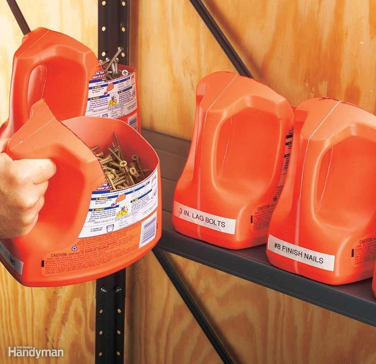 You can drop a few bills buying storage totes for supplies like nails, screws and plumbing parts. Or you can make your own with laundry detergent jugs and a utility knife. They're big, tough and mobile—and they'll make your workshop stink nice.