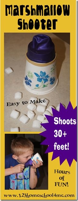 Marshmallow Shooter Kids Activity - Great for SUMMER BUCKET LIST! Uses things you have laying around. Marshmallow went over 30 feet!!