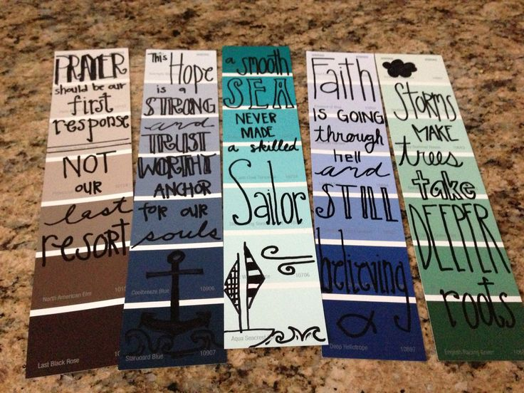 Homemade bookmarks from paint samples