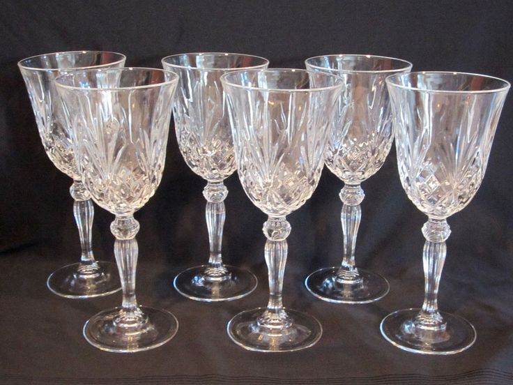 Cut Crystal Stemmed Goblets Set of 6