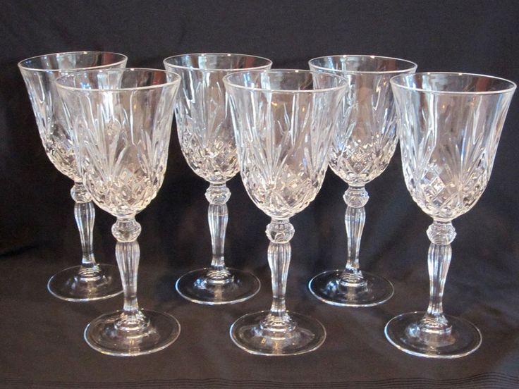 Cut Crystal Stemmed Goblets Set of 6