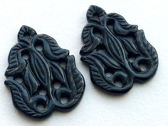 Black Onyx Filigree Hand Carved Matched Pair by gemsforjewels