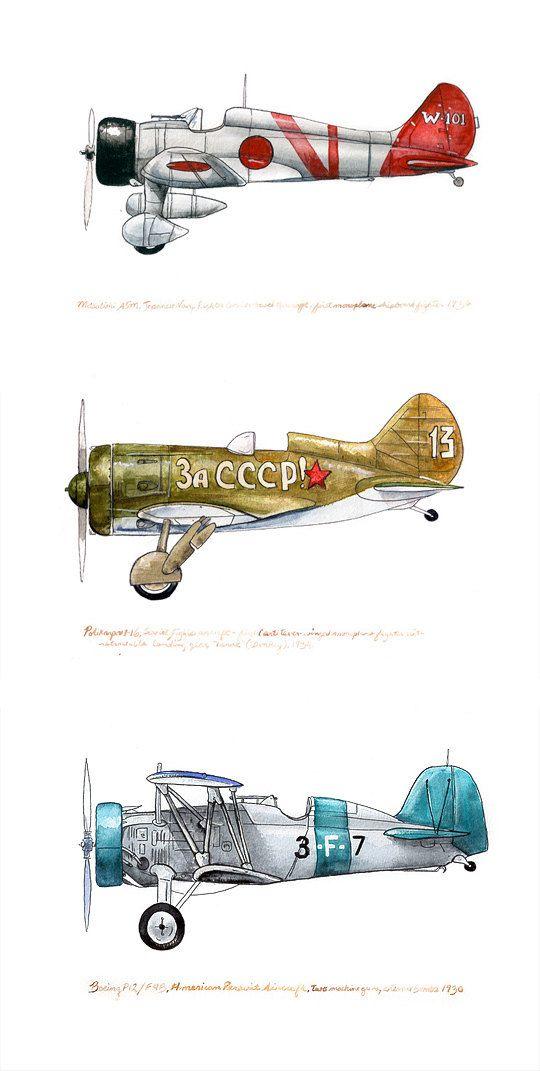 """Polikarpov 1-16, vintage soviet aviation watercolor print, 8x10"""". $20.00, via Etsy."""