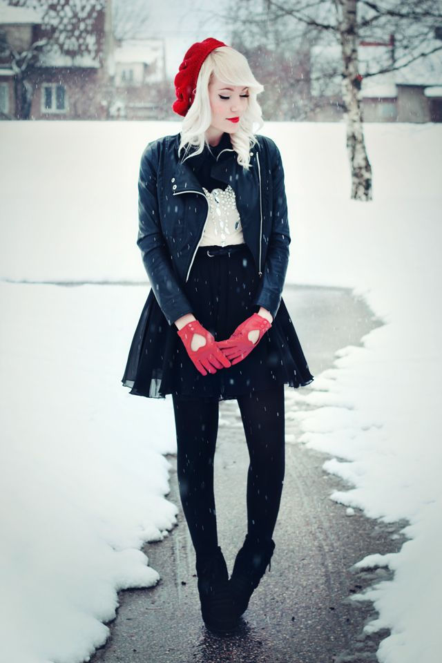 """Red and black with red heart-cutout gloves. This outfit could not possibly be more """"me"""""""