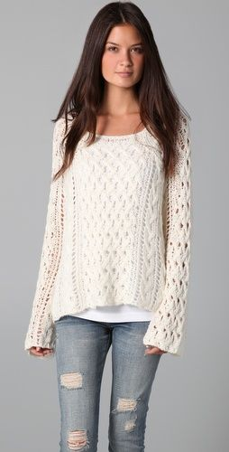 relaxed: Ripped Jeans, White Sweaters, Cute Sweaters, Outfit, Fall Sweaters, Free People, Comfy Sweater, Cozy Sweaters, Knits Sweaters