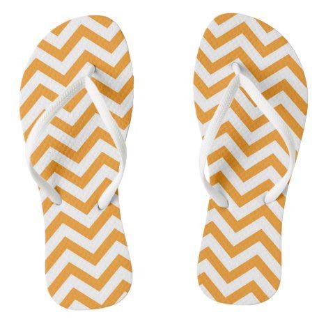 Orange And White Large Chevron Stripe Flip Flops #chevron #patterned #footwear #fashion