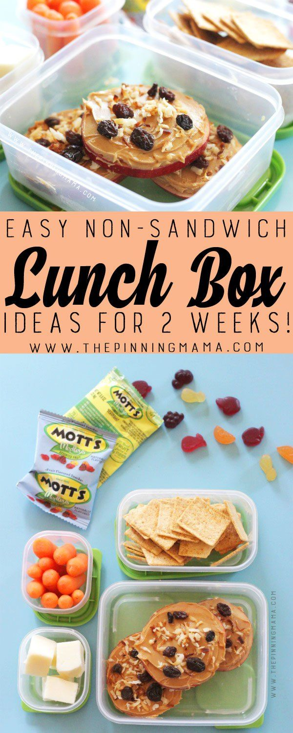Apple Pizza lunch box idea for kids! Just one of 2 weeks worth of non-sandwich school lunch ideas that are fun, healthy, and easy to make! Grab your…