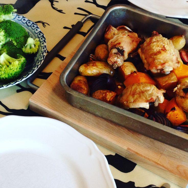 Roasted chicken, butternut and chorizo bake
