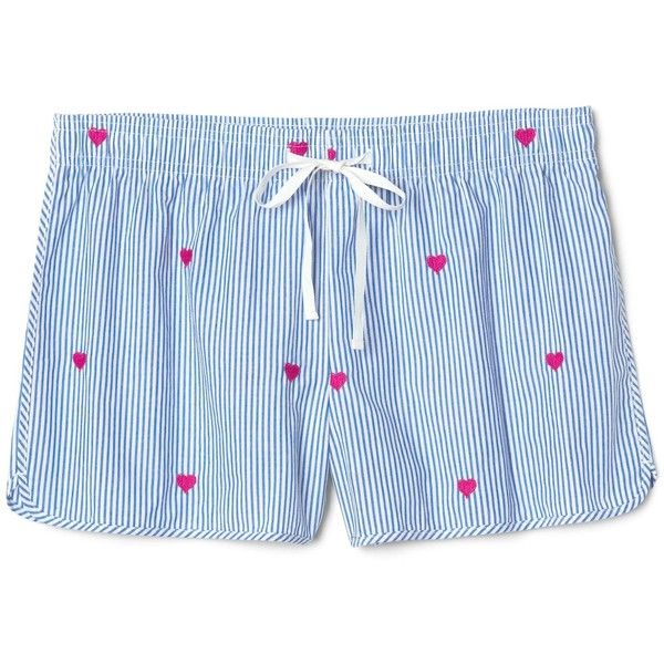 Stripe Poplin Sleep Shorts with Heart Embroidery ($20) ❤ liked on Polyvore featuring intimates, sleepwear, pajamas, striped pajamas, heart pajamas, striped pyjamas, striped pjs and poplin pajamas