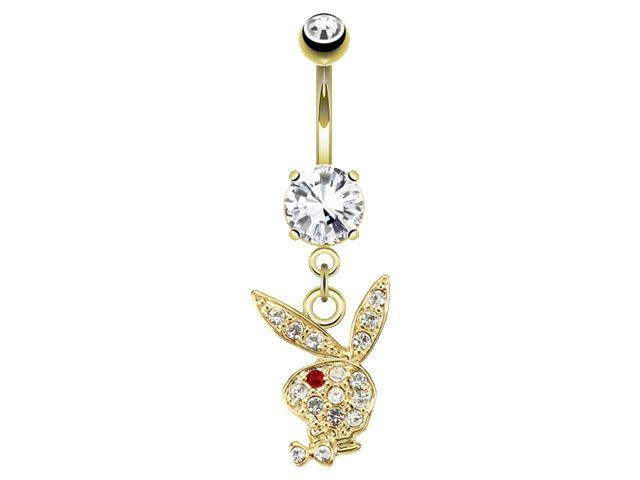 Surgical Steel & 14k Gold Plated White & Red Crystal Dangling Playboy Bunny Banana 1.6 X10 X5/8