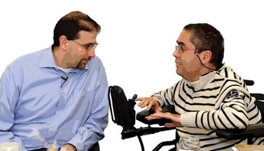Conversation; interview; meeting; advocacy; disability   License: Attribution-ShareAlike 2.0 Generic (CC BY-SA 2.0)  Image modified by Emma Q Burns  Creator: U.S. Embassy Tel Aviv  Title: Beit Issie Shapiro No.124